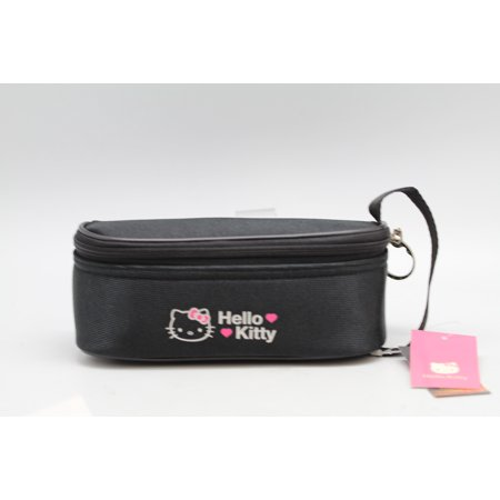 Hello Kitty Cylindrical Girls Essential Supplies Black Colored Clutch (Hello Kitty Black Leather)