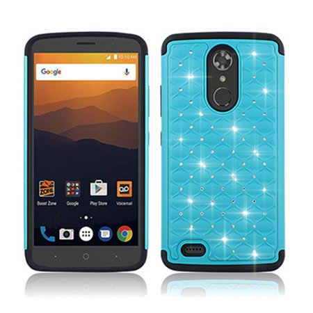 new arrival c1308 e0edf Phone Case for Boost ZTE MAX XL / ZTE Bolton (N9560) Crystal-Dual-Layered  Rugged Cover (Crystal Purple-Black Silicone)