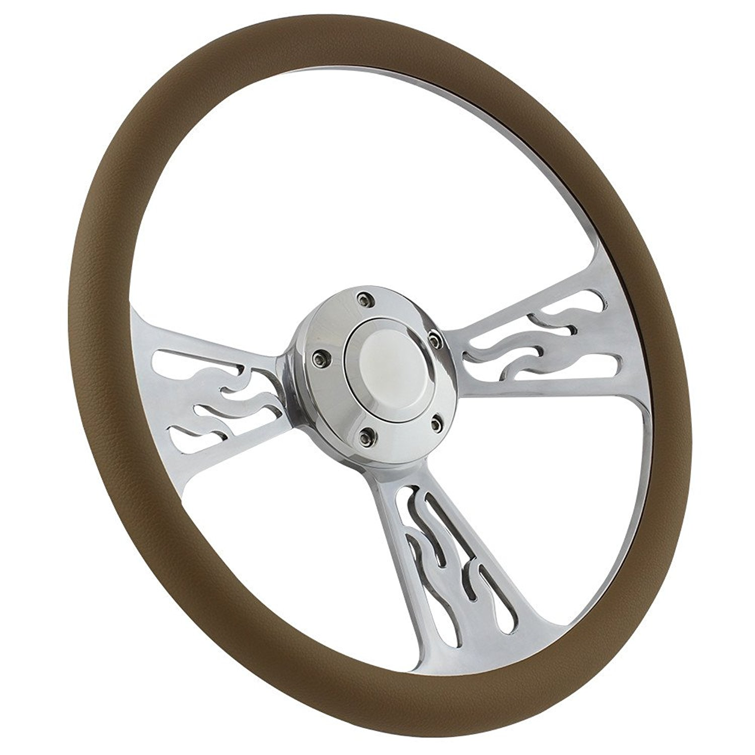 Flame Steering Wheel 5-bolt 14 Inch Aluminum with Tan Wrap and Horn