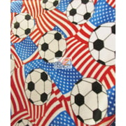 David Textiles Fleece Printed Fabric / American Soccer Flags / Sold By The Yard