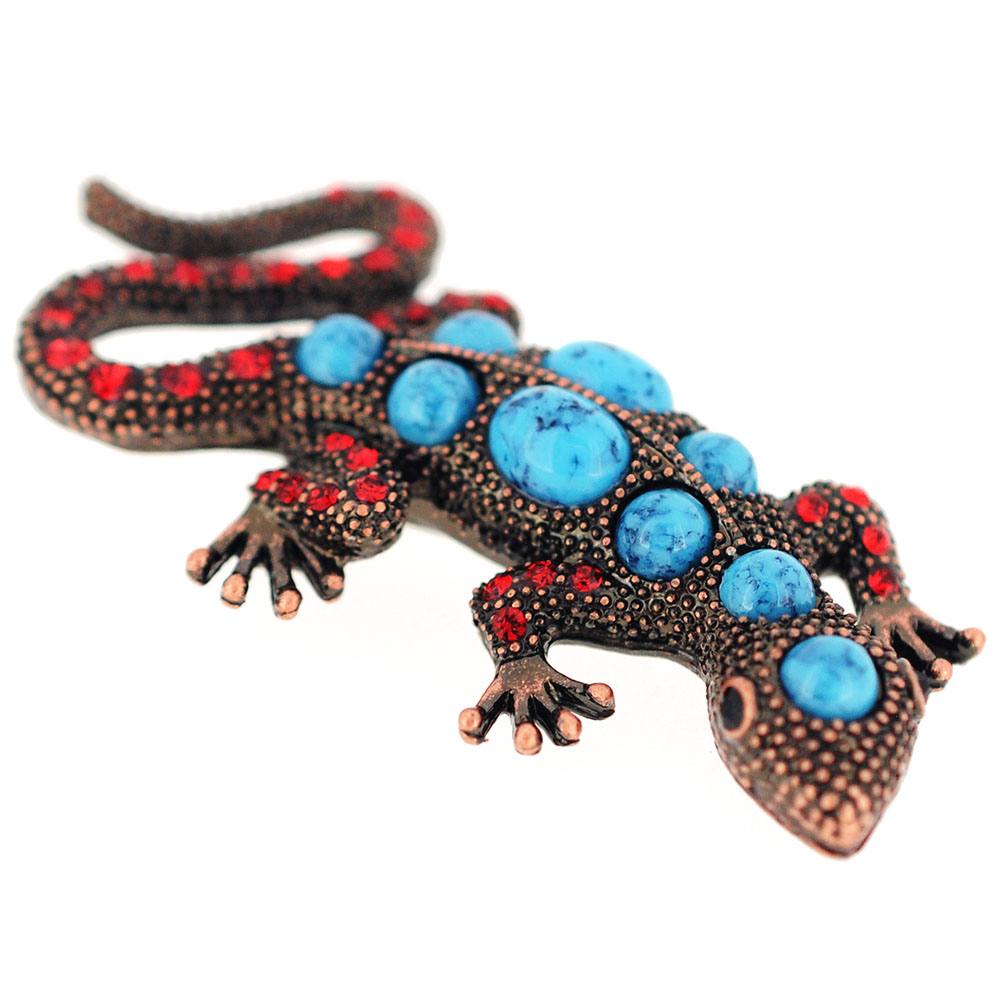 Vintage Style Lizard Turquoise Blue Pin Brooch by