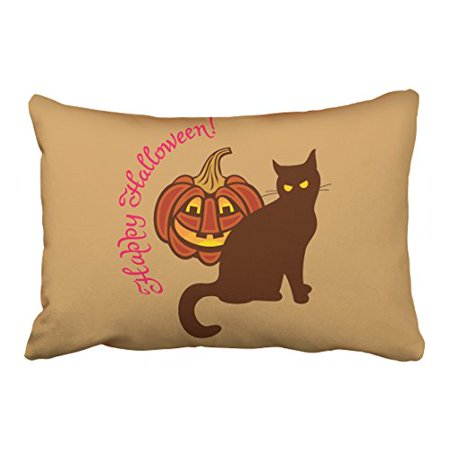 WinHome Cool Funny Black Cat Pumpkin Celebrates Happy Halloween Polyester 20 x 30 Inch Rectangle Throw Pillow Covers With Hidden Zipper Home Sofa Cushion Decorative Pillowcases
