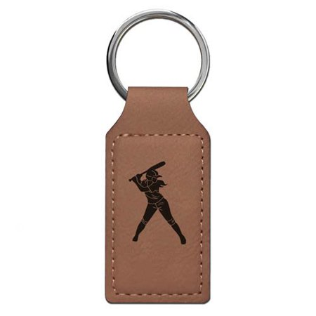 Keychain - Softball Player Woman (Dark Brown Rectangle) - Softball Keychains