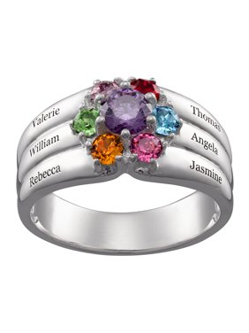 Family Jewelry Personalized Mother's Sterling Silver or 18K Gold over Silver Family Round Birthstone and Name Ring