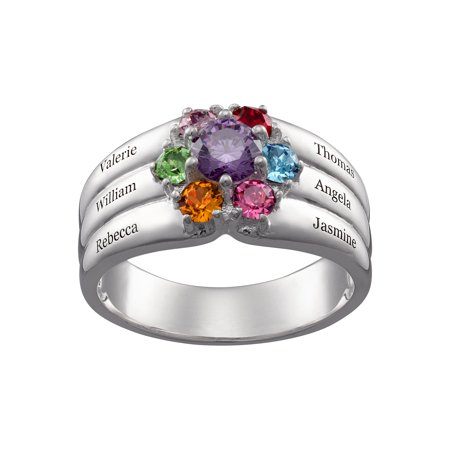 Family Jewelry Personalized Mother's Sterling Silver or 18K Gold over Silver Family Round Birthstone and Name Ring Family Name Ring