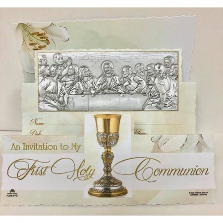 First Holy Communion Jesus Last Supper Invitations with Envelopes 8 Count (First Holy Communion Invitations)