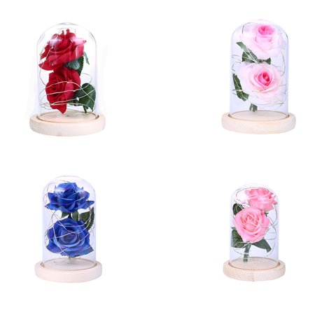 Homeholiday Artificial Plastic Dual Rose Flowers 20LED Copper Wire Night Light Glass Cover Night Lamp Birthday Party Ornaments - image 8 of 8