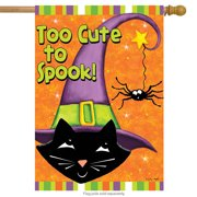 """Too Cute to Spook Halloween House Flag Black Cat Witch Hat 28"""" x 40"""""""
