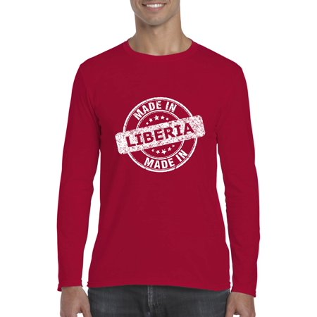 Made In What To Do in Liberia Travel Guide Deals Flight Tickets Map Flag  Gift Softsyle Long Sleeve Men's T-Shirt Tee - Walmart.com