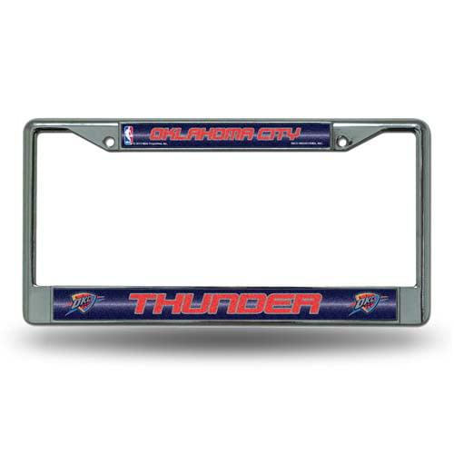 Oklahoma City Thunder Laser Etched Chrome License Plate Frame (Glitter)