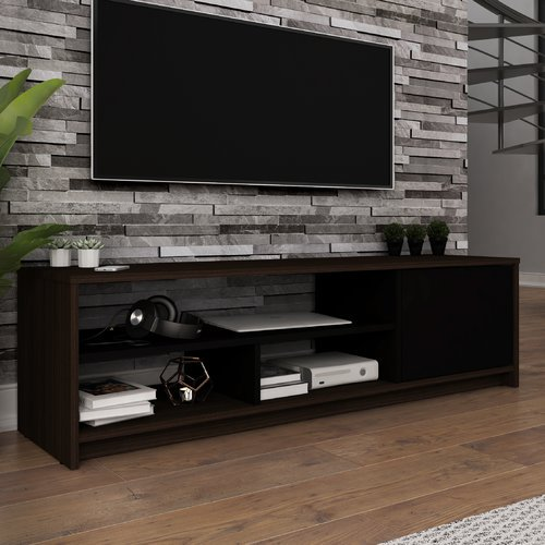 Bestar Small Space 53.5-inch TV Stand in Dark Chocolate and Black ...