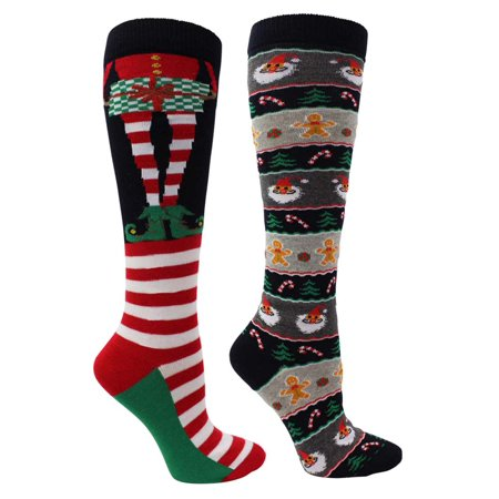 aa762457ef5 Luxury Divas - Elf   Santa Christmas Holiday Womens 2 Pack Knee High Socks  - Walmart.com