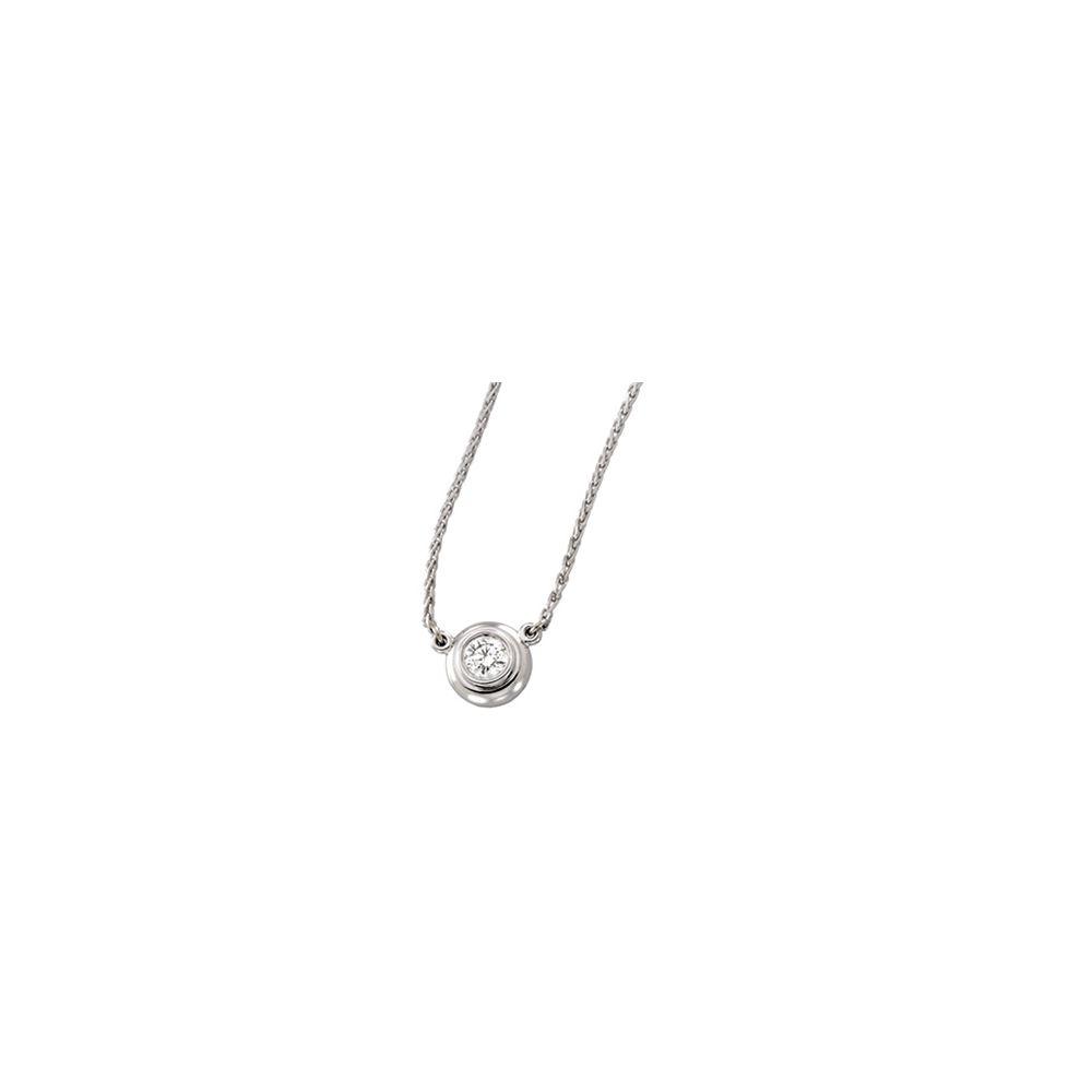 "14k White Gold 0.25 Ct Diamond Bezel Set Solitaire Pendant 18"" Wheat Chain Necklace by"