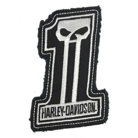 Harley-Davidson Dark Custom #1 Skull Frayed Emblem Patch, 4 x 3 inches - White, Harley (Best Place To Order Custom Patches)