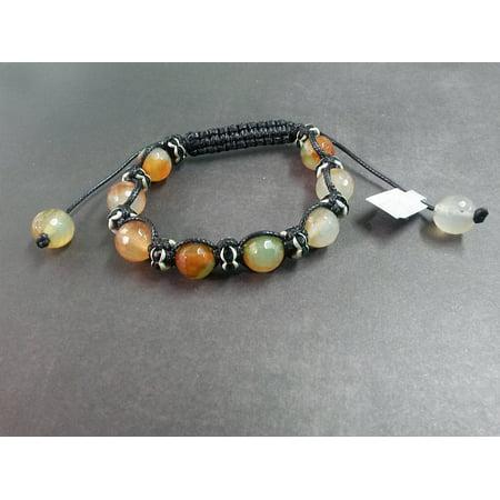 SALE-- Green Rhinestone Agate Gemstone Shamballa Style European Bead Woven Nylon Bracelet Charm Glass Acrylic Silver T299
