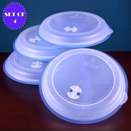 MICROWAVE DIVIDED PLATES WITH VENTED LIDS (Set of 4, blue) (Blue Snowflake Plates)