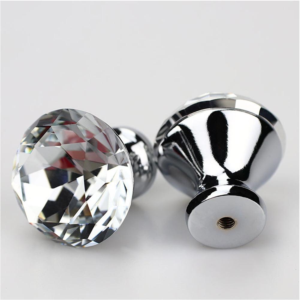 10pcs 30mm Diamond Shaped Crystal Glass Cabinet Knob