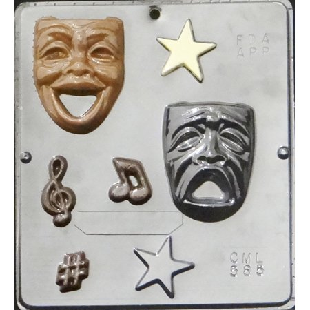 585 Comedy Tragedy Drama Theater Faces ChocolateCandy Mold