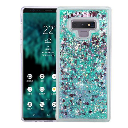 Samsung Galaxy Note 9 - Phone Case BLING Hybrid Liquid Glitter Quicksand Rubber Silicone Gel TPU Protector Hard Cover - Green
