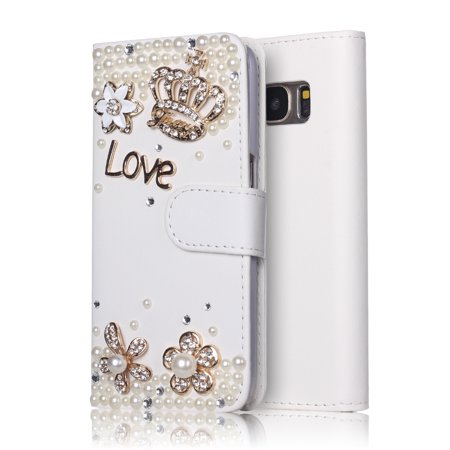 - Samsung Galaxy S8 Plus Wallet Case, MINI-FACTORY Bling Premium Flip PU Leather Glitter Rhinestone Crystal Diamond Crown Cover - White