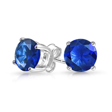 1Ct Royal Blue Round Cubic Zirconia Brilliant Cut Solitaire AAA CZ Stud Earrings 925 Sterling Silver Simulated Sapphire