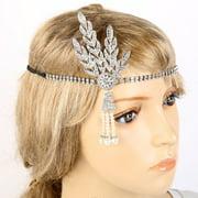 Women Vintage Headband Handmade Bead Rhinestone Headwear 1920's Hair Cap Bride Bridal Dress Accessories Silver