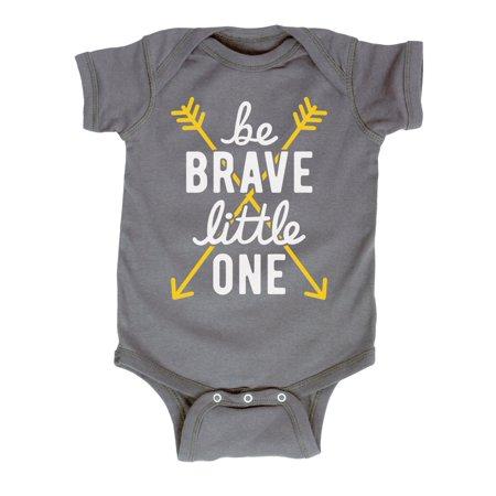 Be Brave Little One Script Yellow Arrows Hippie Novelty Infant Baby Bodysuit - Hippie Babe