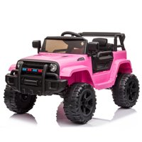 Zimtown Safety 12V Battery Electric Remote Control Car, Kids Toddler Ride On Truck Toy Motorized Vehicles, Wheels Suspension, Seat Belts, LED Lights and Realistic Horns Pink