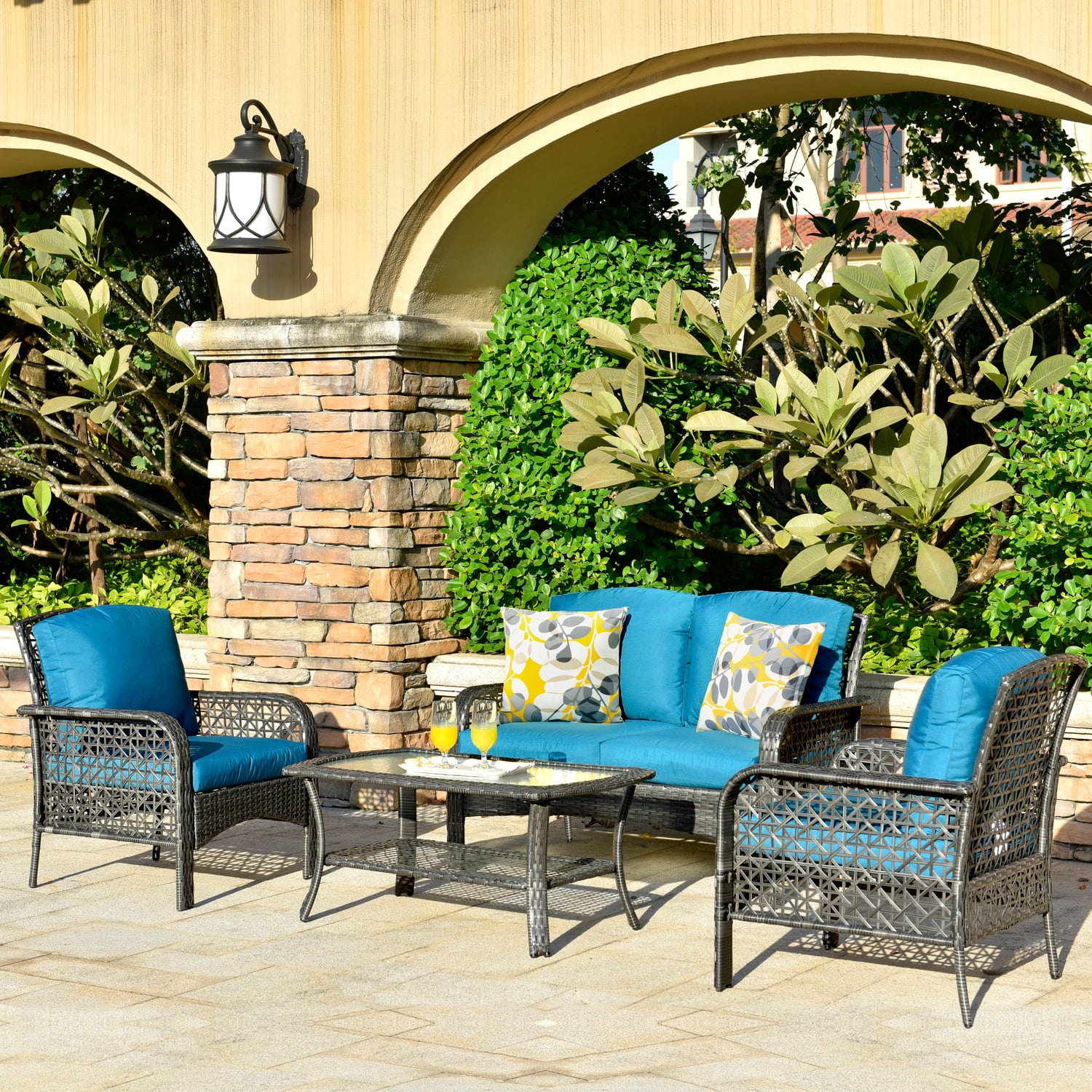 ovios 4 PCs Patio Furniture Sets All Weather Water ...