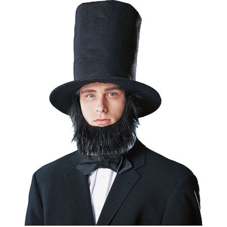 Lincoln Stove Top Hat with Beard (Zz Top Beard Halloween)