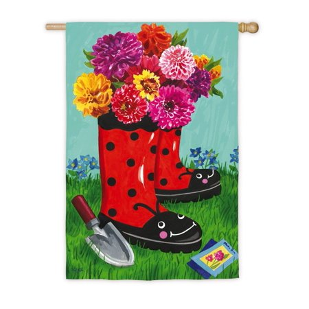 - Garden Boots Vertical Flag, Welcome guest to your home with this cheery, spring flag! By Evergreen Enterprises, Inc