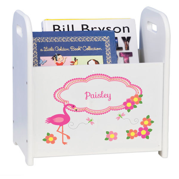 Personalized Pink Flamingo Caddy and Book Rack