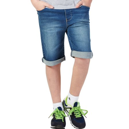 Leo&Lily Boys' Kids' Rib Waistband Regular Fit Stretch Denim Shorts Jean