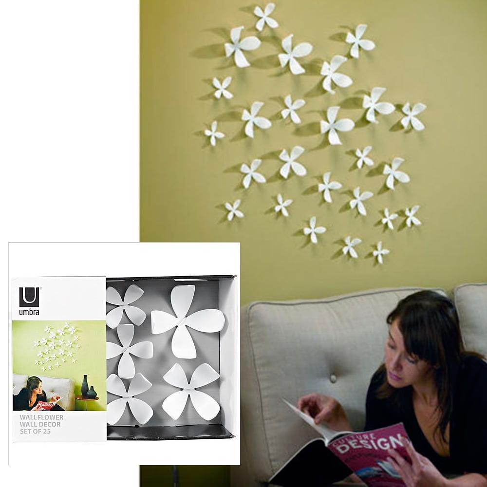 Umbra Wallflower Wall Decor 25 Flowers White Diy Nature Art Home Room  Design New   Walmart.com