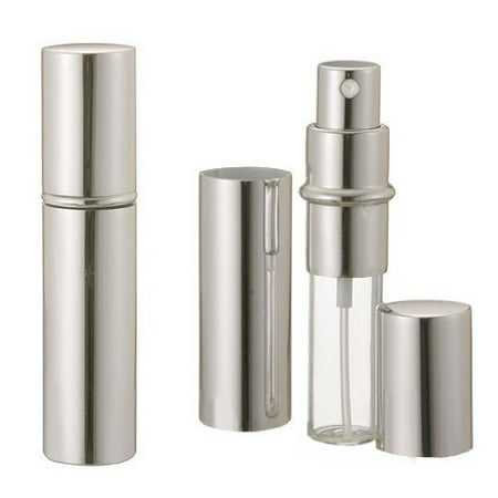 Grand Parfums Silver Metallic Perfume Atomizer Spray 12mL for Purse, Pocket or Travel Refillable ( 1 Bottle)