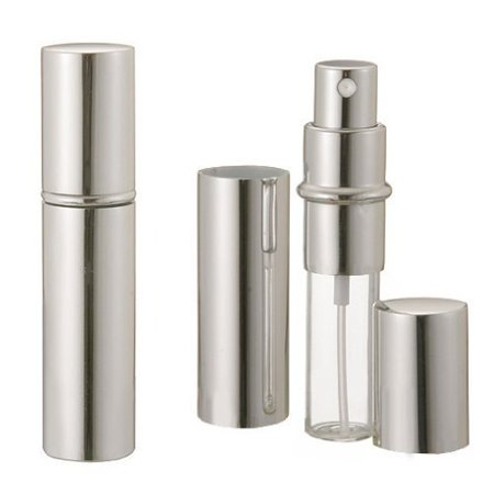 Grand Parfums Silver Metallic Perfume Atomizer Spray 12mL for Purse, Pocket or Travel Refillable ( 1
