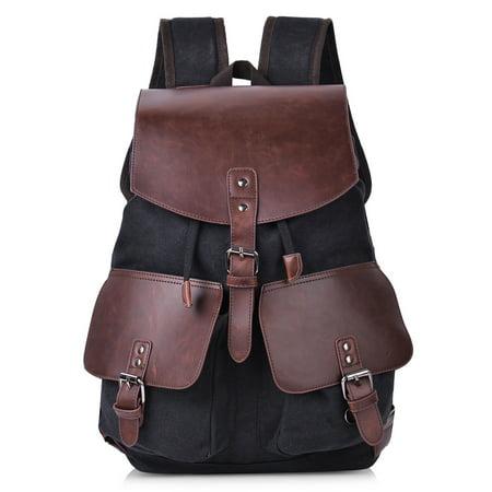 826b01f8302a Vbiger Canvas Vintage Backpack Leather Casual Bookbag Men Women Laptop  Travel Rucksack