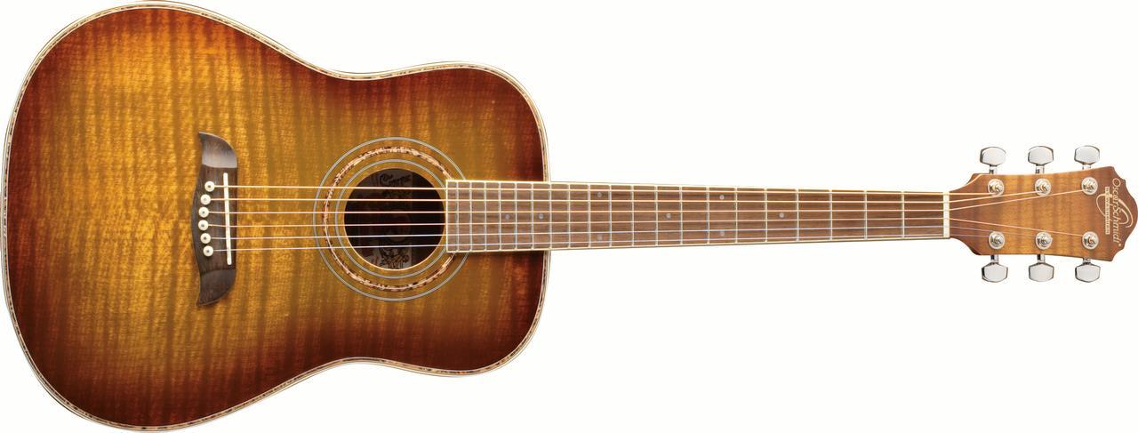 Oscar Schmidt OG1FYS 3 4 Size Dreadnought Acoustic Guitar (High Gloss)Flame Yellow... by KMC Music