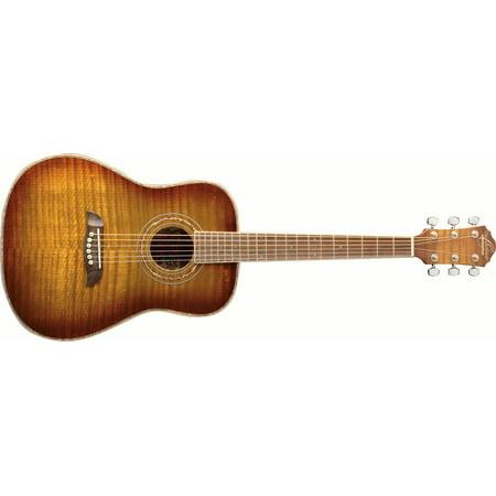 Oscar Schmidt OG1FYS 3/4 Size Dreadnought Acoustic Guitar (High Gloss)Flame Yellow Sunburst ()