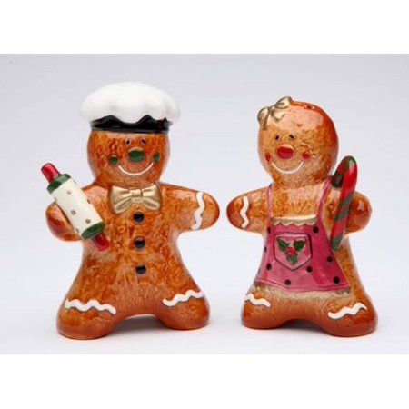 Gingerbread Couple Salt and Pepper Set, 3-3/8-Inch, Functional salt and pepper set By Cosmos Gifts