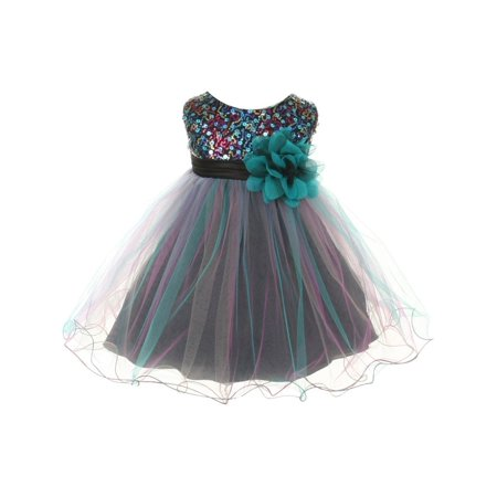 Kids Dream Baby Girls Teal Multi Sequin Tulle Special Occasion Dress  18M