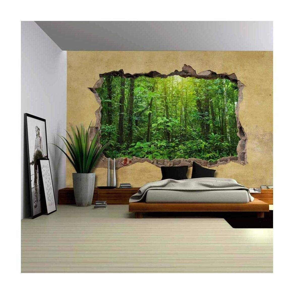 wall26 Tropical Rain Forest Viewed through a Broken Wall - Large Wall Mural, Removable Peel and Stick Wallpaper, Home Decor - 66x96 inches