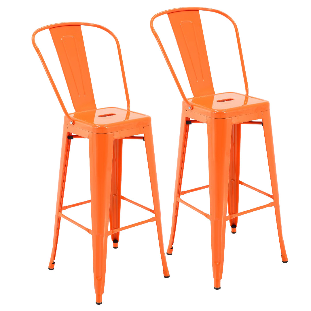 "Porthos Home Rust-Resistant Metal Patio Barstool with Back, 30"" Seat Height (Set of 4)"