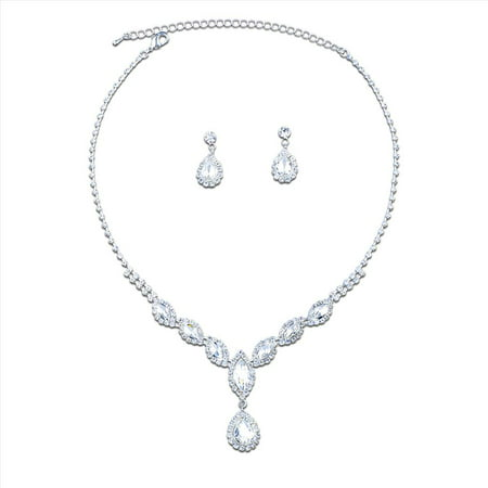 Teardrop Necklace And Earring Set - Bridal Jewelry Set Silver Crystal Teardrop Necklace Earrings Set For Wedding