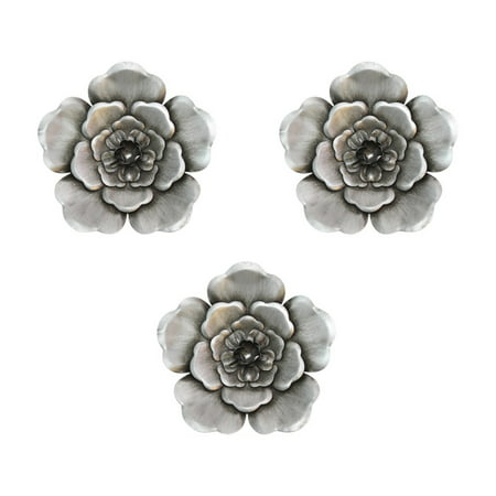 Stratton Home Decor Silver Metal Wall Flowers (Set of 3) ()
