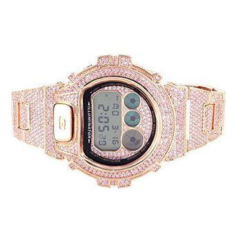G Shock Mens DW6900 Pink Gemstones 14k Rose Gold Finish Metal Band Watch