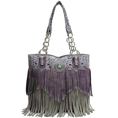 Fringe Bag - Tote Western Fringe HandBag Bag Purple