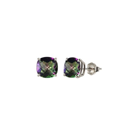 Sterling Silver Cushion Cut Citrine Earrings (Sterling Silver 6 mm Square Cut Lab-Created Mystic Topaz Stud Earrings )