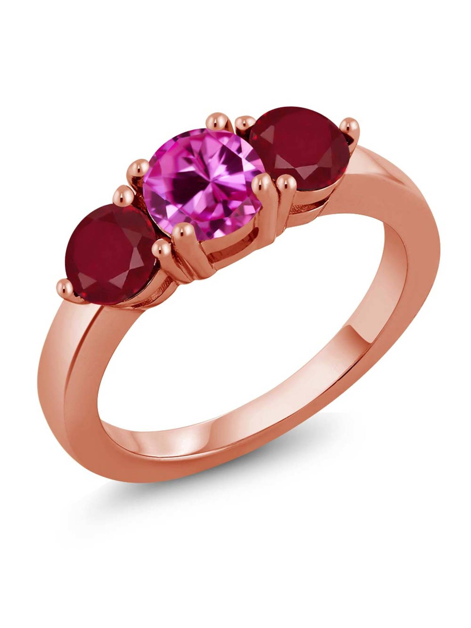 2.12 Ct Round Pink Created Sapphire Red Ruby 18K Rose Gold Plated Silver Ring by