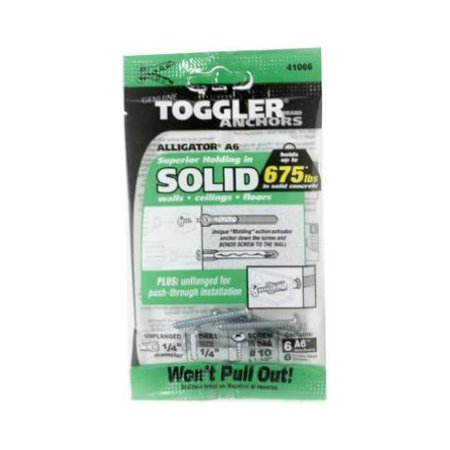 Toggler® 50460 Alligator® A6 Unflanged Solid Wall Anchors w/Screws, 1/4